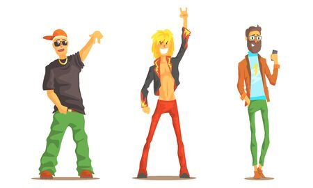Men of Different Subcultures Set, Rocker, Hipster, Rapper Male Characters Vector Illustration