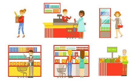 Supermarket Interior Elements Set, People Choosing and Buying Products in the Mall or Shop Vector Illustration Illustration