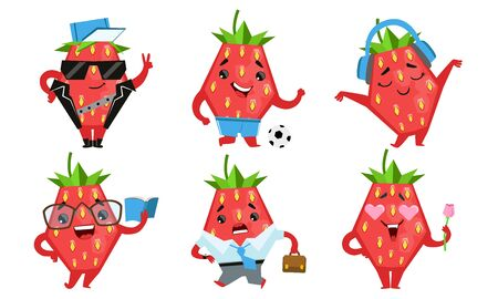 Cute Strawberry Cartoon Character Set, Funny Fruit in Different Situations and Various Emotions Vector Illustration Stock Illustratie