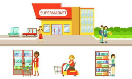 Supermarket Interior Elements Set, Building, Shelves, Showcase, Freezer, People Choosing and Buying Products in the Shop Vector Illustration