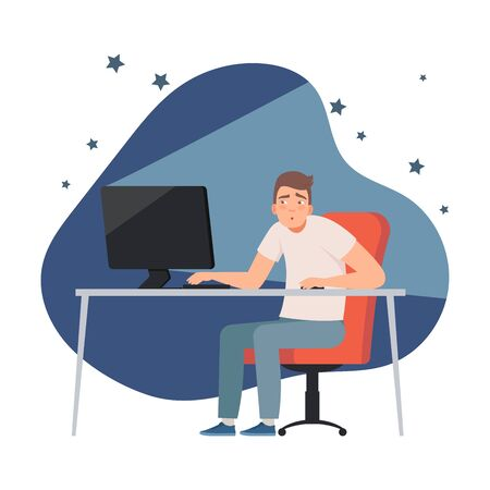 Man who is sitting at the computer at night time vector illustration set