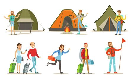 People Going on Summer Vacation Set, Backpackers Spending Time at Summer Camp Vector Illustration