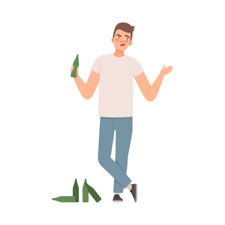Man is standing with a bottle in his hand, nearby are empty bottles, Alcoholic bad habit illustration vector