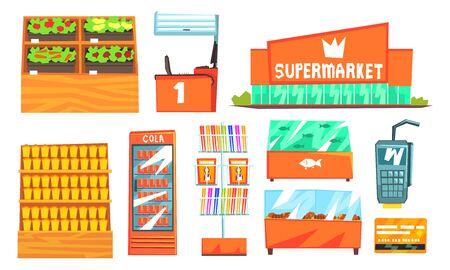 Supermarket Interior Elements Set, Building, Shelves, Showcases, Freezers Vector Illustration
