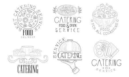 Catering Food and Drink Service Hand Drawn Retro Labels Set, Food for All Occasions Monochrome Badges Vector Illustration