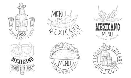 Mexicano Food Hand Drawn Retro Labels Set, Traditional Spicy Menu Monochrome Badges Vector Illustration