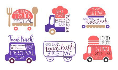 Food Truck Festival Labels Set, Street Food Vintage Emblems Vector Illustration