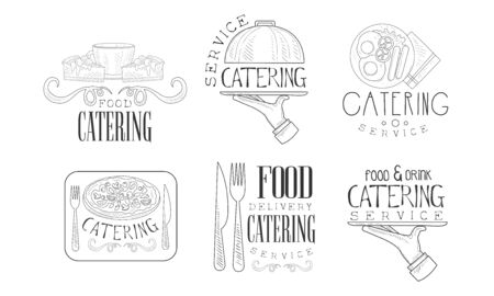 Catering Hand Drawn Retro Labels Set, Food and Drink Delivery Service Monochrome Badges Vector Illustration Çizim