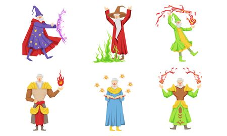 Old Fairytale Wizard Characters Set, Male Magician or Warlock in Robe Practicing Wizardry Vector Illustration