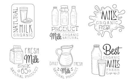 Natural Organic Milk Hand Drawn Retro Labels Set, Fresh Daily Product Monochrome Badges Vector Illustration on White Background.