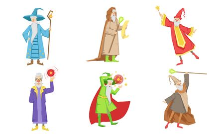 Old Fairytale Wizard Characters Set, Male Magician or Warlock in Hat and Mantle Practicing Wizardry Vector Illustration on White Background. Illustration