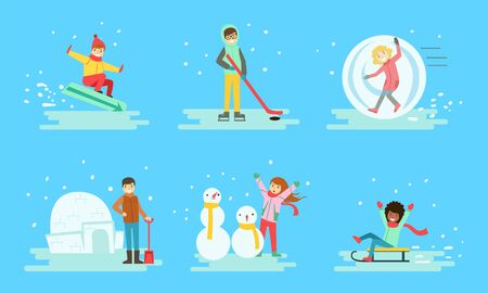 Winter Activities Set, People Snowboarding, Playing Hockey, Building Icy Igloo, Making Snowman, Sledding Vector Illustration
