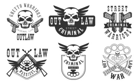 Outlaw Street Criminal Retro Labels Set, Welcome to the Ghetto Black Badges Vector Illustration on White Background.