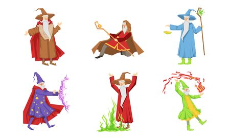 Old Wizard Characters Set, Male Magician or Warlock in Robe Practicing Wizardry Vector Illustration