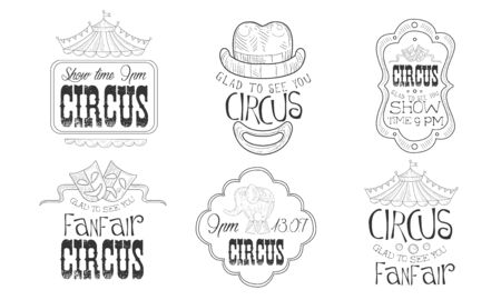Circus Show Hand Drawn Retro Labels Set, Glad to See You Funfair Monochrome Badges Vector Illustration on White Background.