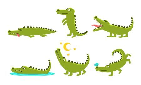 Crocodile Cartoon Character In Different Poses Set, Cute Amphibian Animal with Different Emotions Vector Illustration on White Background.