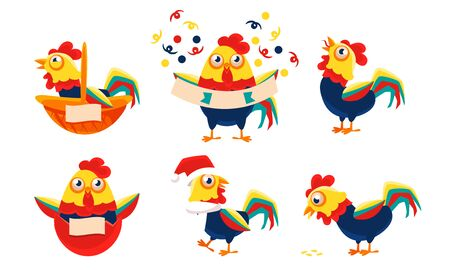 Collection of Roosters with Bright Plumage in Different Situations, Funny Poultry Character Vector Illustration on White Background.