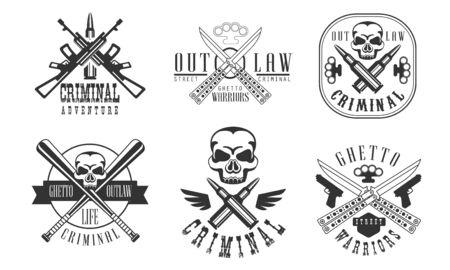 Outlaw Street Criminal Retro Labels Set, Ghetto Warriors Black Badges Vector Illustration on White Background.