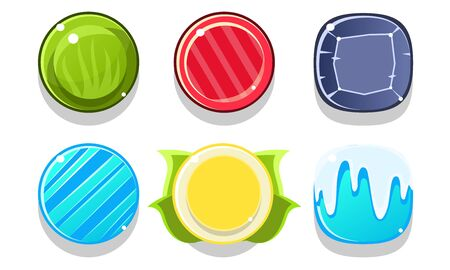 Colorful Glossy Balls Set, Shiny Spheres, Game User Interface Assets Vector Illustration on White Background. 向量圖像