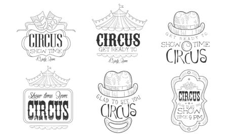 Circus Show Hand Drawn Retro Labels Set, Glad to See You Show Time Monochrome Badges Vector Illustration Ilustracja