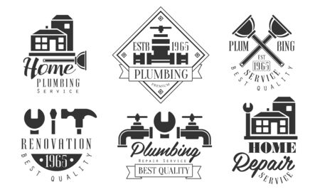 Plumbing Service Best Quality Retro Labels Set, Home Repair Black Badges Vector Illustration on White Background.
