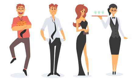 People in Casino Set, Workers and Visitors Characters Vector Illustration on White Background.