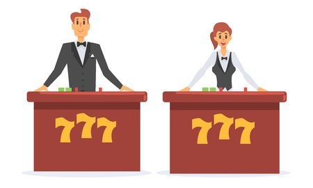 Casino Croupier Characters, Male and Female Casino Workers Vector Illustration Illustration