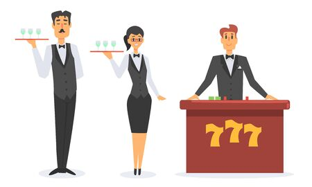 Casino Workers Set, Waiters and Croupier Characters Vector Illustration on White Background. Çizim