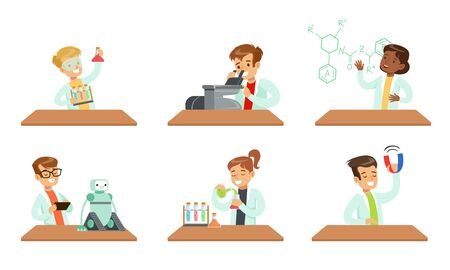 Kid Scientists Set, Boys and Girls Doing Experiments in the Laboratory Vector Illustration on White Background. Illusztráció