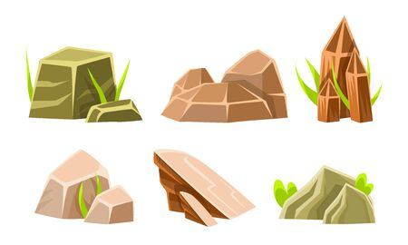 Rock Stones And Boulders With Grass Set, Summer Landscape Elements Vector Illustration on White Background.