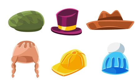 Headwear Collection, Male and Female Cartoon Hats Vector Illustration on White Background. Banque d'images - 131505440