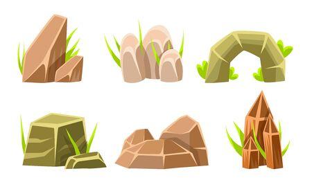 Rocks And Boulders With Grass Set, Summer Landscape Elements Vector Illustration on White Background. Ilustração