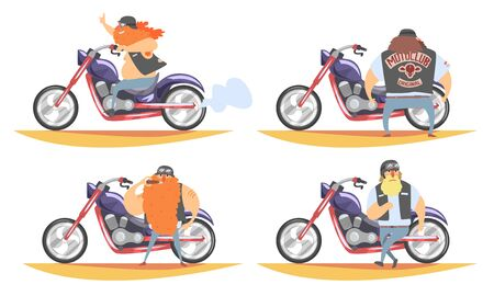 Brutal Biker Character Riding Motorbike Set, Motorcyclist in Black Leather Vest and His Motorcycle, Side View Vector Illustration on White Background.
