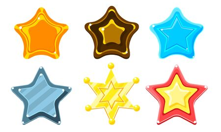 Glossy Colorful Stars Set, Game User Interface Assets Vector Illustration on White Background.
