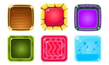 Colorful Glossy Squares Set, Shiny Buttons, Game User Interface Assets Vector Illustration on White Background.