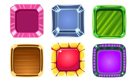 Glossy Squares Set, Colorful Buttons, Game User Interface Assets Vector Illustration on White Background.