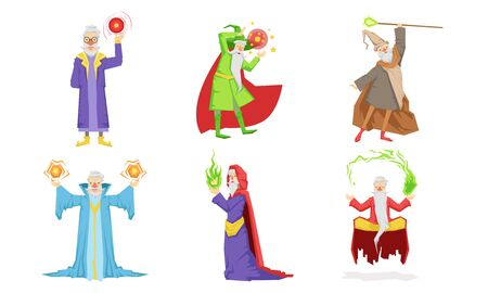 Old Wizard Characters Set, Male Magician or Warlock in Hat and Mantle Practicing Wizardry Vector Illustration on White Background. Ilustrace