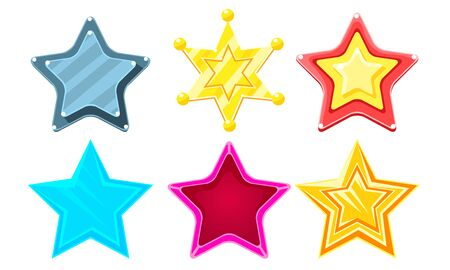 Glossy Different Stars Set, Game User Interface Assets Vector Illustration on White Background.