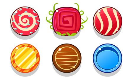 Colorful Glossy Balls Set, Shiny Candies, Game User Interface Assets Vector Illustration on White Background.