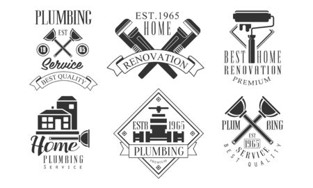 Plumbing Service Beat Quality Retro Labels Set, Home Renovation Black Badges Vector Illustration on White Background. Vetores