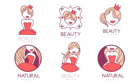 Cosmetic Center Premium Quality Labels Set, Natural Beauty Salon Badges Vector Illustration on White Background. Иллюстрация