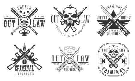 Outlaw Ghetto Criminal Retro Labels Set, Street Warriors Black Badges Vector Illustration on White Background.