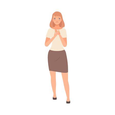 Simpatia ragazza tenendo le mani sul petto illustrazione vettore su sfondo bianco.