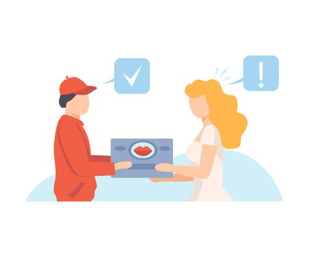 The girl receives her parcel from the courier vector illustration