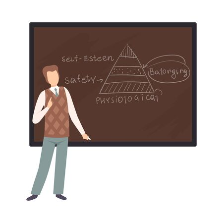 Man teaches a lecture on psychology vector illustration