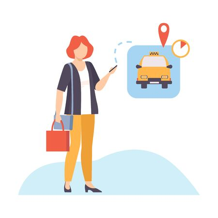 Woman is waiting a taxi to relocate vector illustration