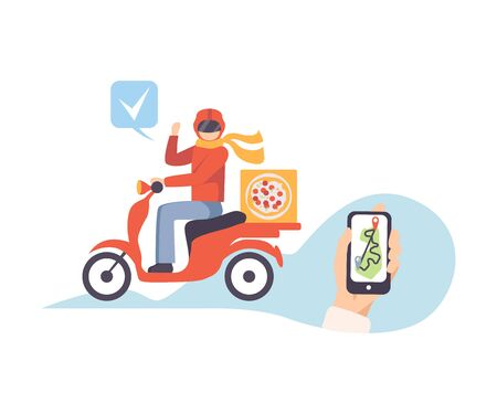 Pizza delivery tracking on the smartphone vector illustration