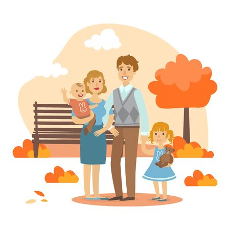 Happy Family Walking Together in Autumn Park Vector Illustration, Web Design.  イラスト・ベクター素材
