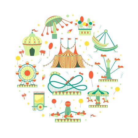 Amusement Park Elements of Circular Shape, Funfair with Carousels, Festive Park Attractions Vector Illustration
