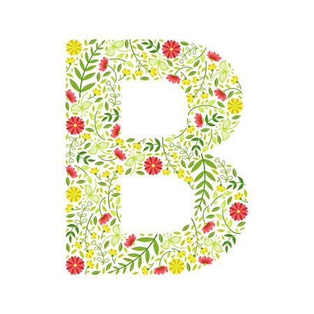 Capital Letter B, Green Floral Alphabet Element, Font Uppercase Letter Made of Leaves and Flowers Pattern Vector Illustration